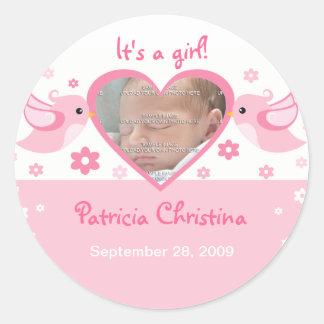 Pink Love Birds Photo Baby Birth Announcement Classic Round Sticker