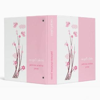 Pink Love Birds Spring Flowers Baby Album 3 Ring Binder