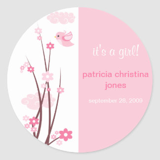 Pink Love Birds Spring Flowers Baby Announcement Classic Round Sticker