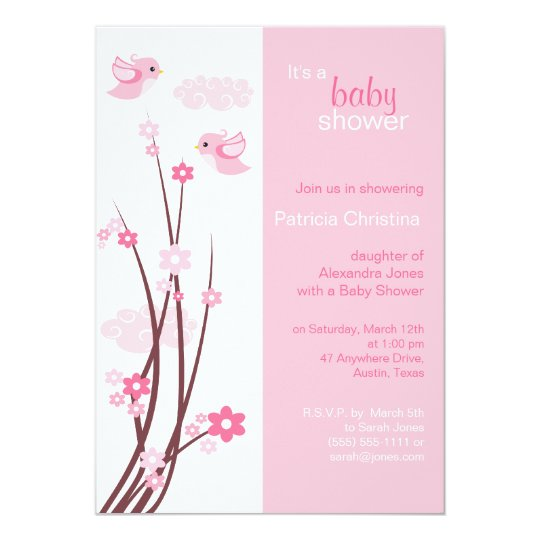 Pink Love Birds Spring Flowers Baby Shower Card
