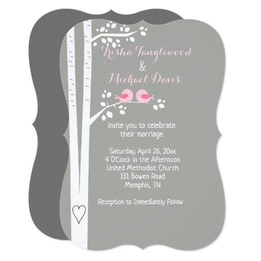 Pink Love Birds Wedding Invitations Die Cut