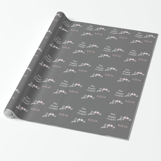 Pink Love Birds Wedding Wrapping Paper