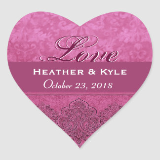 Pink Love Bride and Groom Date Heart Sticker