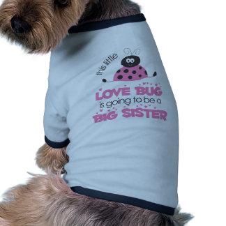 Pink Love bug Big Sister Pet T-shirt