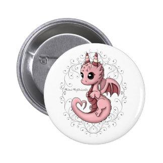 Pink Love Dragon Button Pin