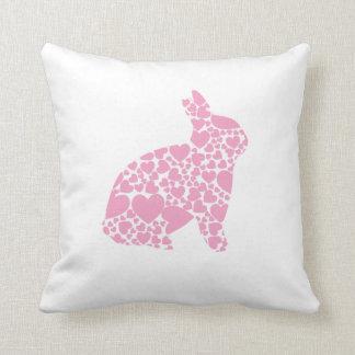 Pink Love Heart Bunny Rabbit Throw Pillow