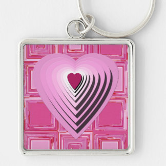 Pink Love Heart Design Large Square Keychain