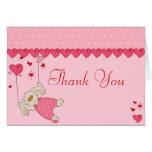 Pink Love Heart Design Thank You Card