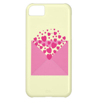 Pink Love Heart Envelope Case For iPhone 5C