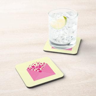 Pink Love Heart Envelope Coaster