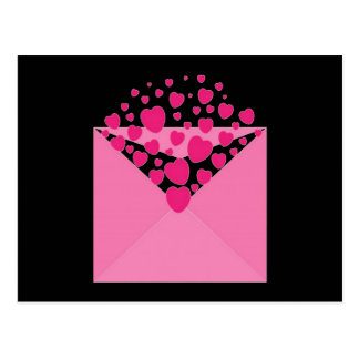 Pink Love Heart Envelope Postcard
