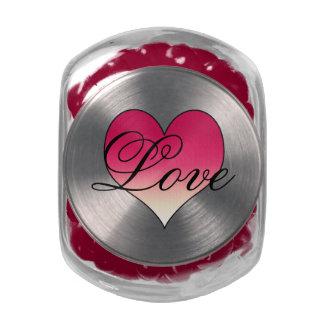 Pink Love Heart Glass Candy Jars