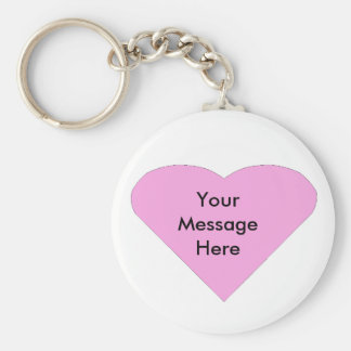 Pink Love Heart message template Keychain
