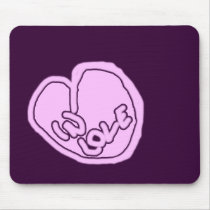 Pink Love Heart On Black Mousepad