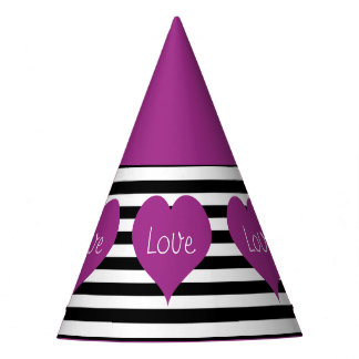 Pink Love Heart On Black & White Striped Pattern Party Hat