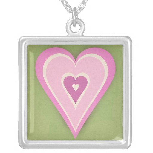 Pink love heart on green paper - necklace