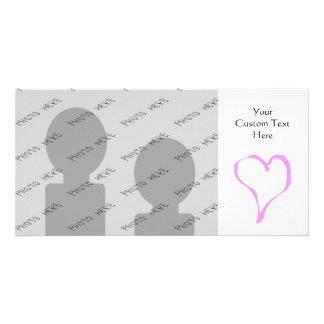 Pink love heart on white. card
