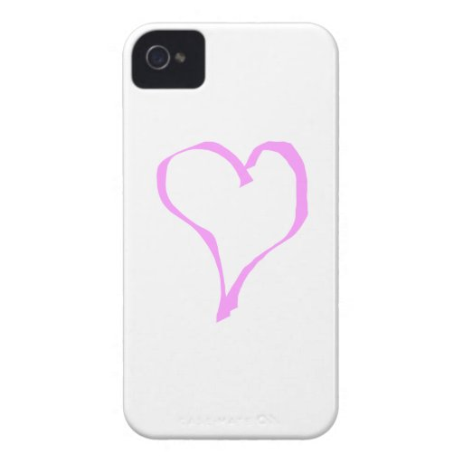 Pink love heart on white. iPhone 4 Case-Mate case