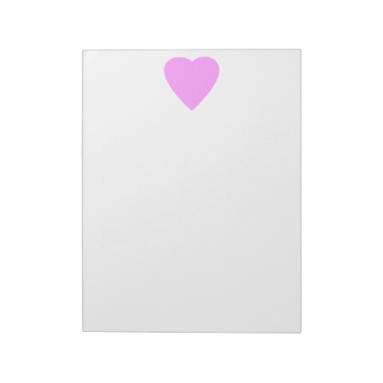 Pink love heart on white. notepad