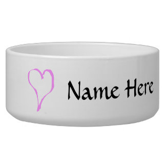 Pink love heart on white. dog water bowl