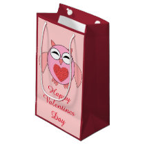 Pink Love Heart Owl Custom Gift Bag