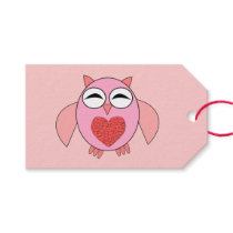 Pink Love Heart Owl Custom Gift Tags