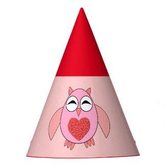Pink Love Heart Owl Party Hat