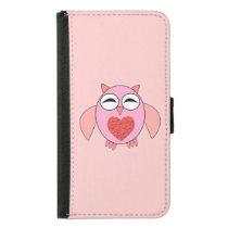 Pink Love Heart Owl Samsung Wallet Case
