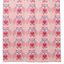 Pink Love Heart Owl Shower Curtain