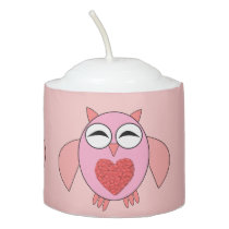 Pink Love Heart Owl Votive Candle