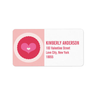 Pink Love Heart Scalloped Circle Address Labels