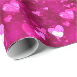 Pink Love Heart Shape Wrapping Paper