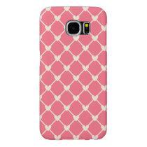 Pink Love Hearts Mesh Vintage Retro Pattern Samsung Galaxy S6 Case