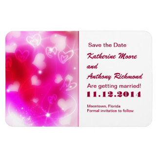 pink love hearts modern save the date magnets