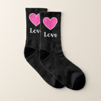 Pink love hearts small socks