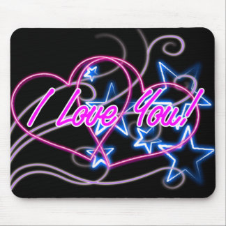 pink love hearts swirl with blue stars mouse pad