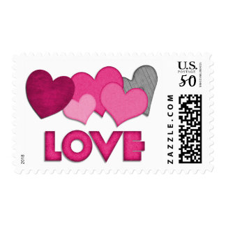 Pink Love Hearts Valentines Day Stamp
