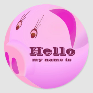 Pink Love Hello my name is _ Round Stickers