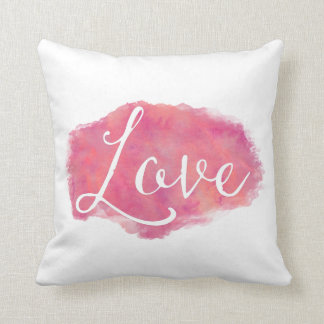 Pink Love Inspirational Watercolor Quote Throw Pillow