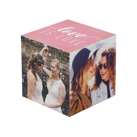 Pink Love is Love Gold Confetti - Wedding Photos Cubecom