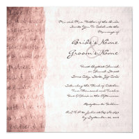 Pink Love is Patient Vintage Wedding Invitation