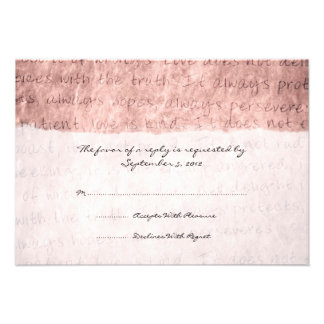 Pink Love is Patient Vintage Wedding RSVP Custom Invitation