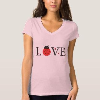 Pink 'Love' Ladybugs V-Neck T-Shirt