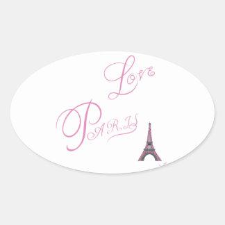 Pink-Love-Paris-Eiffel-Tower-Unique Oval Sticker