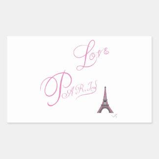 Pink-Love-Paris-Eiffel-Tower-Unique Rectangular Sticker