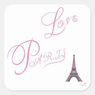 Pink-Love-Paris-Eiffel-Tower-Unique Square Sticker