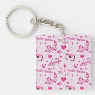 Pink Love Pattern Keychain