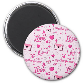 Pink Love Pattern Magnet