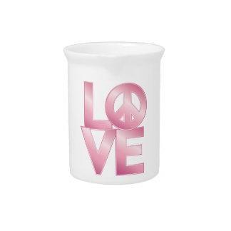 Pink LOVE=Peace Drink Pitcher
