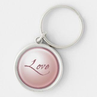 Pink Love Round Keychain